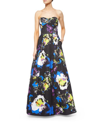 Strapless Bustier Floral-Print Ball Gown