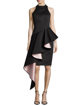 Sleeveless Cascade Asymmetric Ruffle Dress, Black
