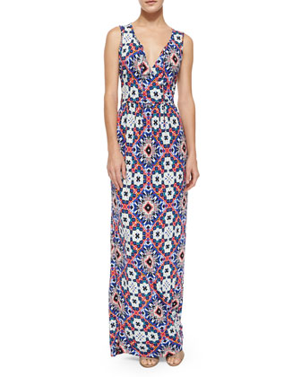 Mosaic Sleeveless Maxi Dress, Electric Blue/Multicolor