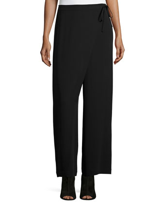 Karate Cropped Silk Pants, Black
