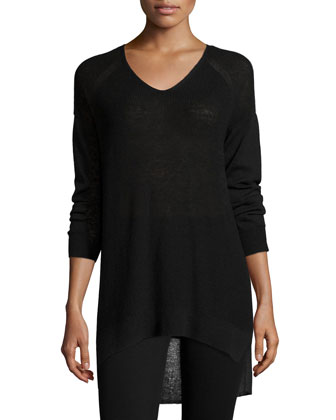 Washable Wool Long V-Neck Top