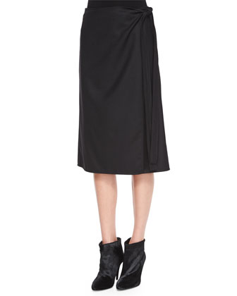 Leenda Turtleneck Sweater & Anning Side-Tie Skirt