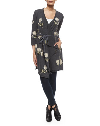 Margarit Flower-Embroidered Waist-Tie Cardigan, Women's