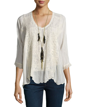 Clearwater Scoop-Neck Embroidered Top