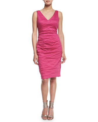 Sleeveless Cotton-Metal Sheath Dress
