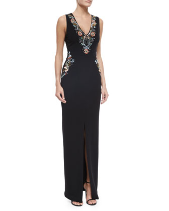 Sleeveless Beaded Column Gown