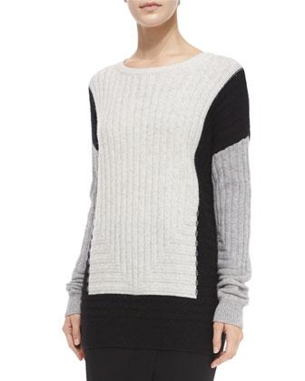 Colorblock Crewneck Sweater & Lamb Leather Pencil Skirt