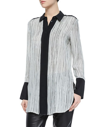 Cashmere Pointelle-Trim Cardigan, Wavy Stripe-Printed Blouse & Leather ...