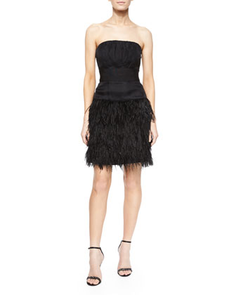 Strapless Feather-Skirt Cocktail Dress