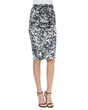 Floral-Print Pencil Skirt, Black/White