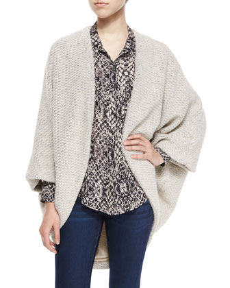 Chunky Knit Cocoon Sweater & Snake-Print Silk Western Shirt