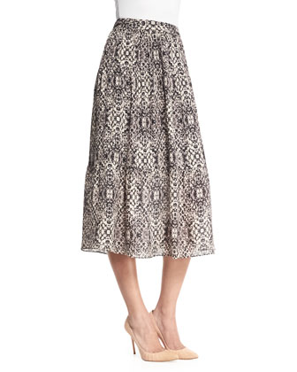 Printed Silk Midi Skirt, Shadow Snake