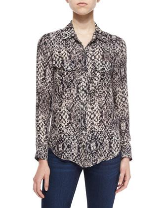 Chunky Knit Cocoon Sweater & Snake-Print Silk Western Shirt