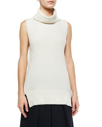 Textured Drape-Front Vest, Ribbed Sleeveless Turtleneck Sweater & Leather ...