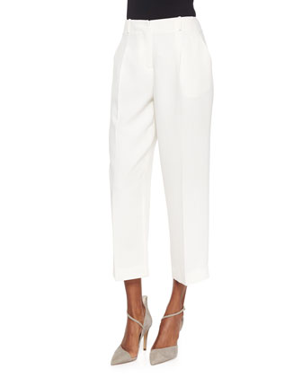 Louise Tie-Neck Silk Blouse & Cropped Straight-Leg Pants