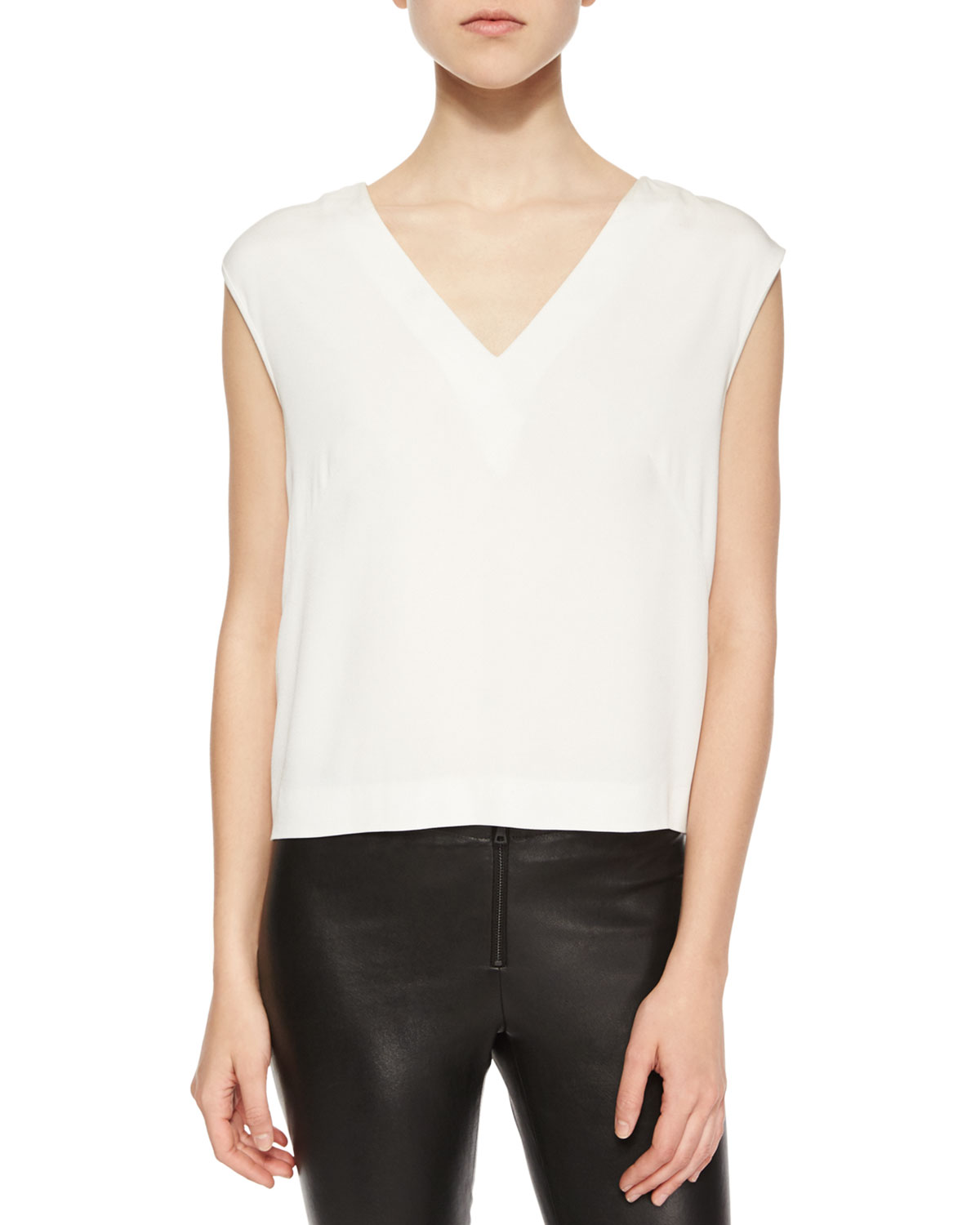 Sleeveless Back Cutout Crepe Top, Size: LARGE, ivory - Nicole Miller Artelier