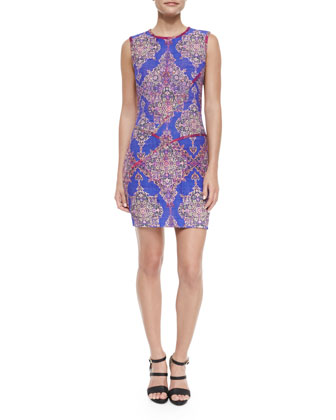 Sleeveless Medallion Sheath Dress, Multicolor