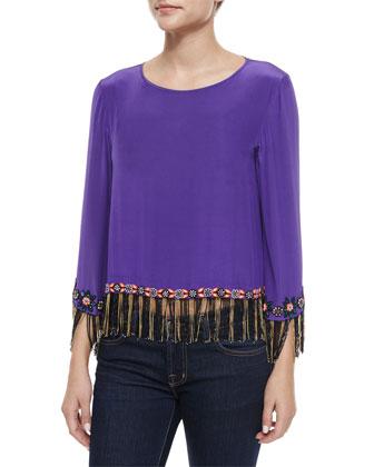 Beaded-Fringe Boho Top, Purple
