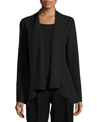 Zanita Wool Jacket, Cleo Sleeveless Silk Blouse & Cropped Straight-Leg Pants