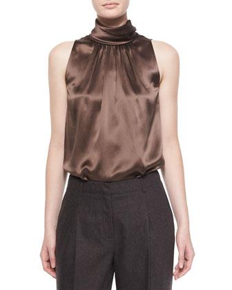Silk Sleeveless Blouse, Chestnut