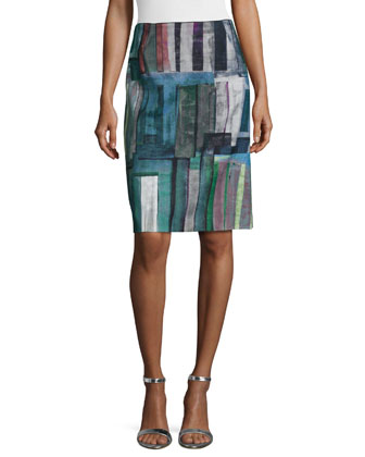 Adalyn Printed Stretch-Wool Pencil Skirt