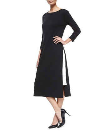 Long Zipper Dress W/ Contrast Gusset, Petite