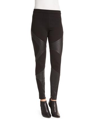 Embellished Cold-Shoulder Chiffon Halter Blouse & Ponte Pants with Leather ...