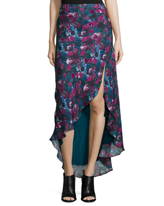 Floral-Print Silk Asymmetric Skirt