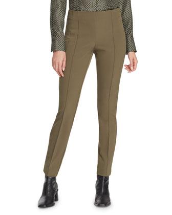 City Slim Pintucked Pants, Black