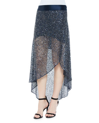 Vest with Mongolian Lamb Fur Collar & Sequin-Embellished Mesh Skirt