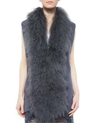 Vest with Mongolian Lamb Fur Collar & Sequin-Embellished Mesh Skirt