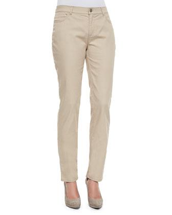 Curvy Slim Leg Jeans, Khaki