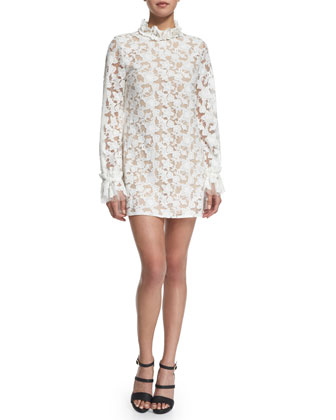 Alanis Long-Sleeve Floral-Lace Mini Dress, White