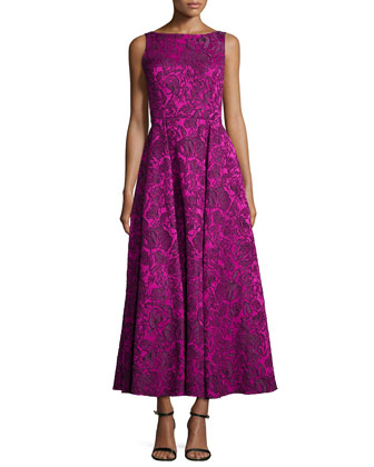 Sleeveless Floral Lace Tea-Length Dress