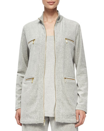 Velour 4-Pocket Long Jacket, Women's