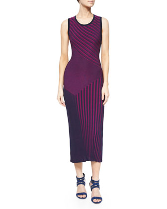Long Sleeveless Ribbed Knit Dress