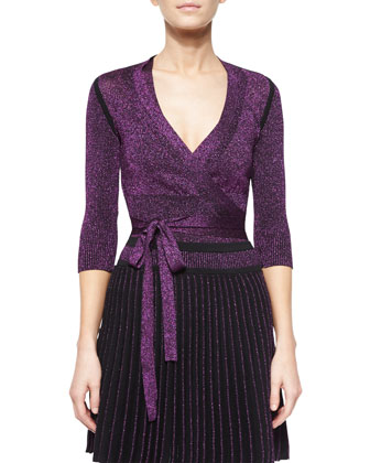 Metallic Knit Tie-Waist Cardigan, Top & Pleated Metallic Knit Miniskirt