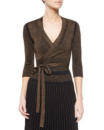 Metallic Knit Tie-Waist Cardigan, Top & Long Pleated Metallic Knit Skirt