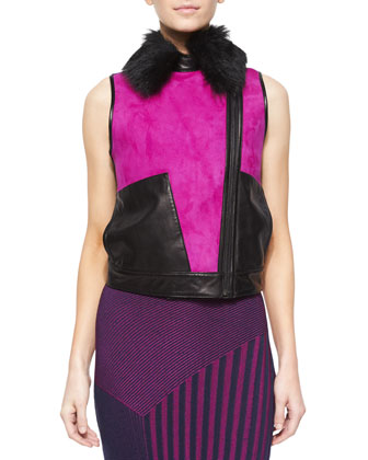 Fur-Collar Colorblock Suede/Leather Vest & Long Sleeveless Ribbed Knit Dress
