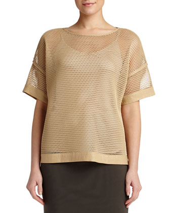 Mesh Short-Sleeve Blouse, Camel