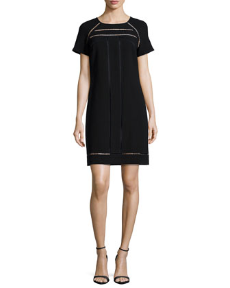 Short-Sleeve Chiffon Shift Dress, Black