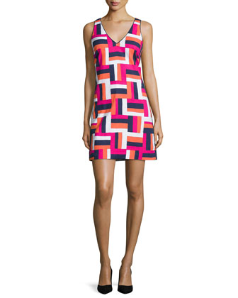 Sleeveless V-Neck Geometric-Print Dress