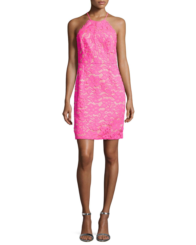 Sleeveless Lace Sheath Dress, Fuchsia (Pink), Size: 0 - Trina Turk