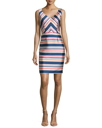 Sleeveless Stripe Sheath Dress, Multi