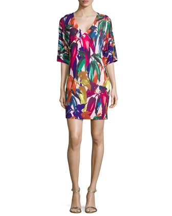 Half-Sleeve Leaf-Print Caftan Dress