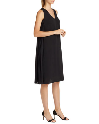 Vaughn Side-Pleated A-line Dress, Black