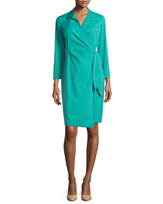 3/4-Sleeve Wrap Dress, Aquarium