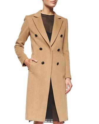 Faye Camel-Hair Button Coat & Eliza Sleeveless Silk Dress