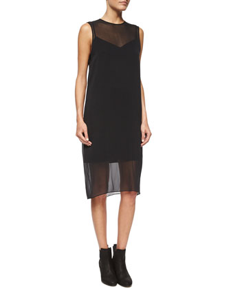 Eliza Sleeveless Silk Dress, Black