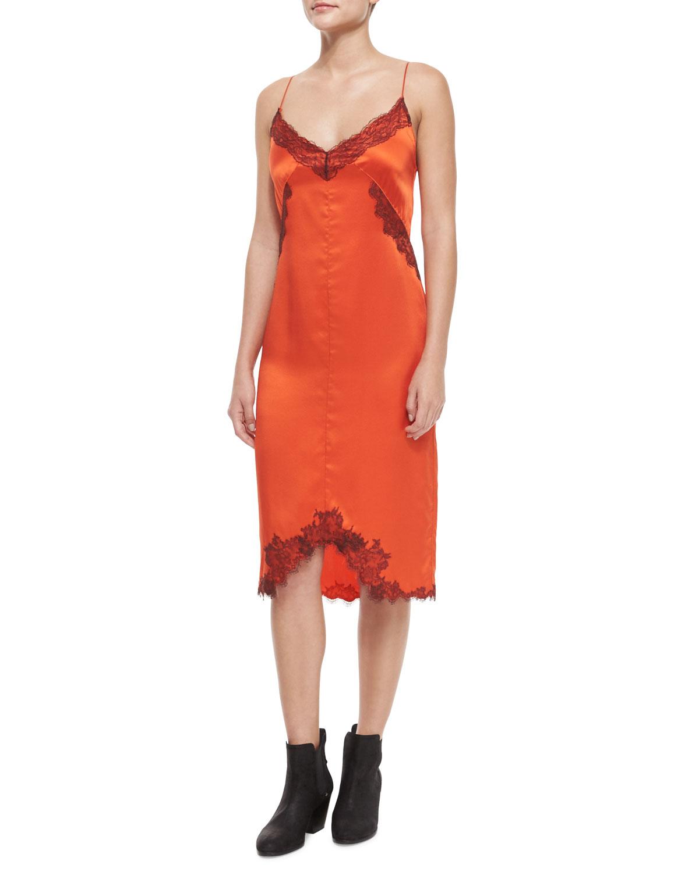Izabella Silk Lace Slip Dress, Spicy Orange, Size: 0 - Rag & Bone